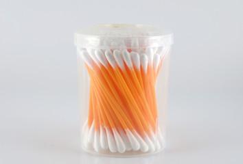 Set of ear cotton sticks on neutral background