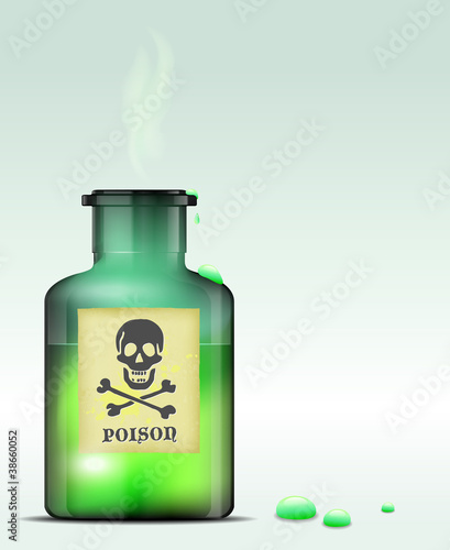 Glass bottle of poison. Vector file.