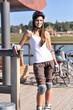 canvas print picture - Skaterin posiert fuer die Kamera
