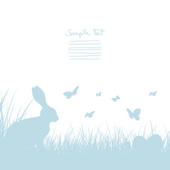 Bunny In Meadow, Easter Eggs & Butterflies Blue Border