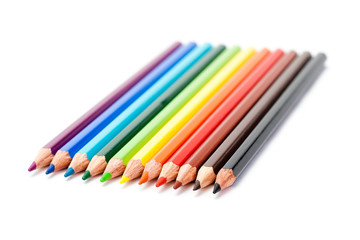 colors pencil in series on white background