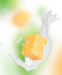Pineapple in milk splash
