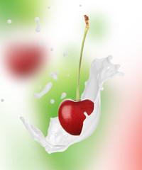 Cherry in milk splash