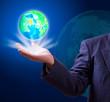 earth globe in hand