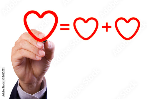 hand writing love mathematical equation  of heart