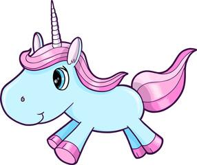Cute Blue Unicorn Animal Vector Illustration Art