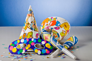Mask, confetti and streamer for carnival