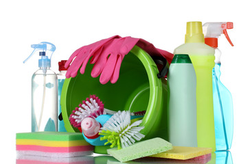 detergent bottles, brushes, gloves and sponges in bucket