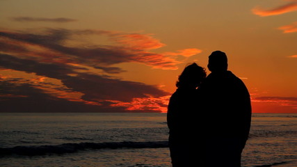 Mature Couple Watching Sunset