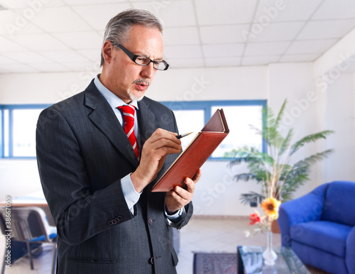 Businessman checking his agenda