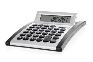 """Taschenrechner zeigt das Wort """"Jackpot"""""""