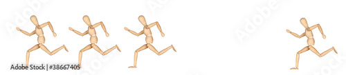 Four wooden mannequin running