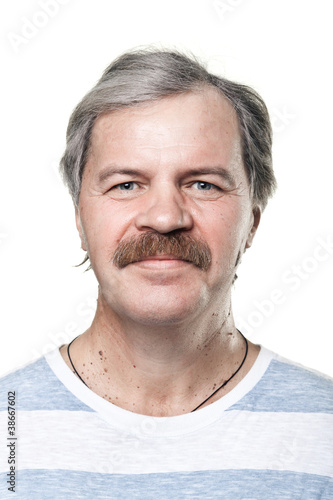 portrait of smiling cheerful mature man isolated on white