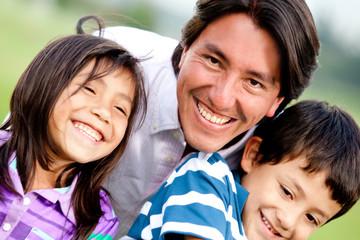 Single parent family portrait