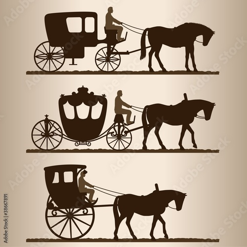 Silhouettes of horse-drawn carriages with riders.