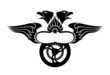Emblem with Wings, Eagles Heads & Motorbike Wheel