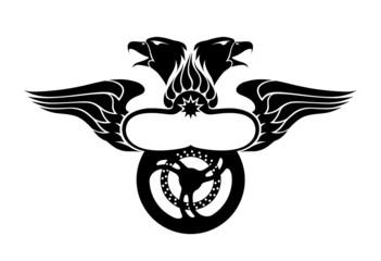 Emblem with Wings, Eagles Heads & Motorbike Wheel