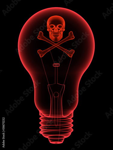 Red lightbulb with skull and crossbones x-ray silhouette