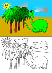 Dinosaur and palms - coloring books for children