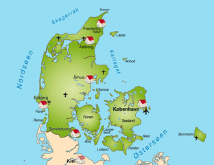 Dänemark als Internetkarte