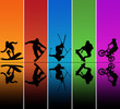 Active sports silhouettes over a rainbow background