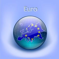 Europe Flag in the globe