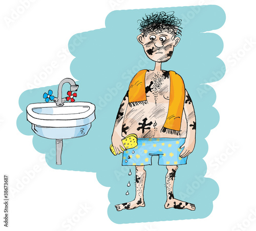 Dirty Man In Bathroom Cartoon Stock Photo And Royalty Free Images