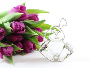 Tulpen mit Osterhase