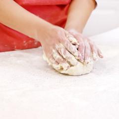 dough and hands closeup