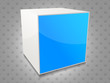 Bright background with blue cube