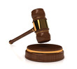 Rendered 3d wooden gavel on white