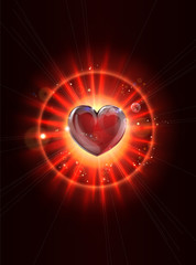 Dynamic light rays heart illustration