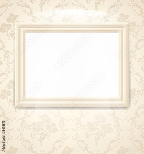 Frame on bright floral background