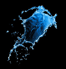 water splash isolated on black
