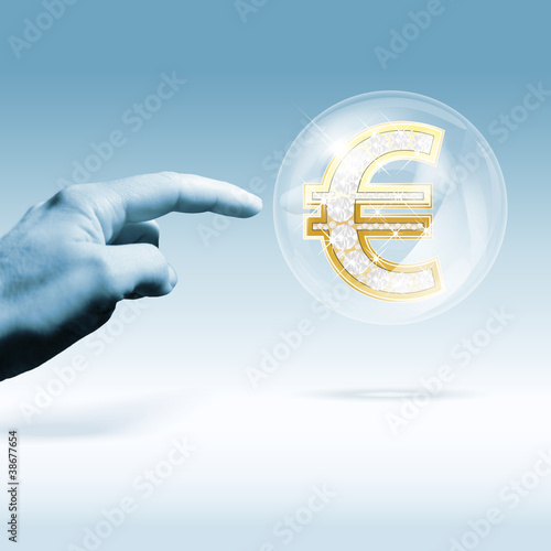 Financial euro-crisis concept. Combination of photo and graphic.