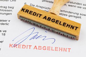 Holzstempel: Kredit abgelehnt