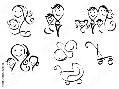 Set of simple sketchy family icons