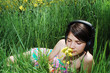 young girl in grass
