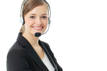 Business woman with headset. Call center