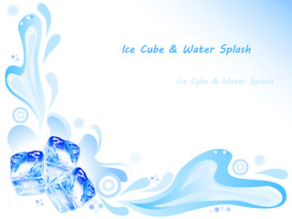 Ice cube and water splash on blue background