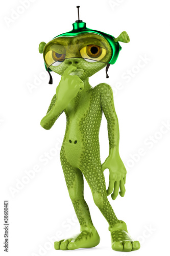 green alien worried about