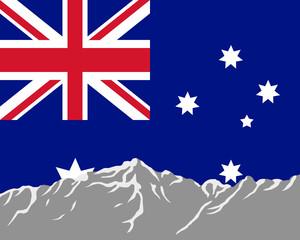 Gebirge mit Fahne von Australien