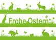 Frohe Ostern Landschafts- und Tier-Silhouette Hasen