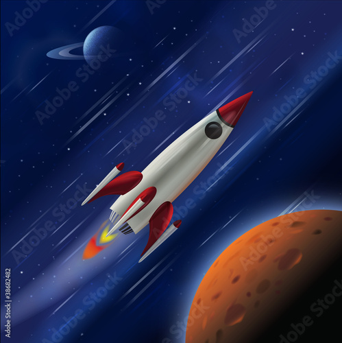 A fast rocket zooming through space