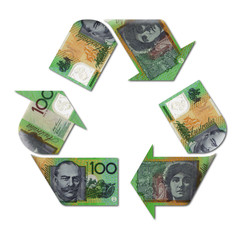recycle symbol made with australian dollars