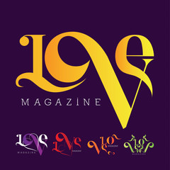 Love Magazine Logos Vector