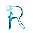 Lettre R, fumée bleue
