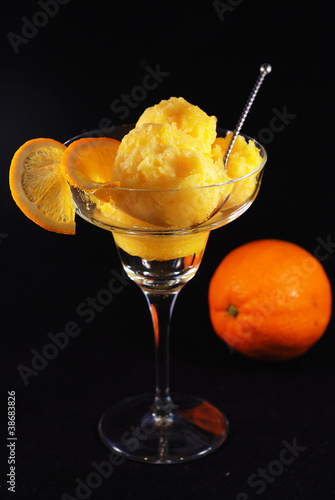 Orange sorbet in a glass