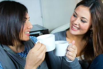 two  friends having coffee at home