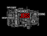 JOBS Tag Cloud (careers vacancies employment recruitment button) poster